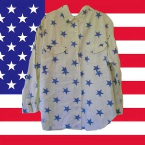 90s grunge american flag shirt star top size large